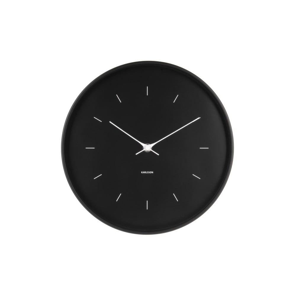 Černé nástěnné hodiny Karlsson Butterfly, ø 27,5 cm