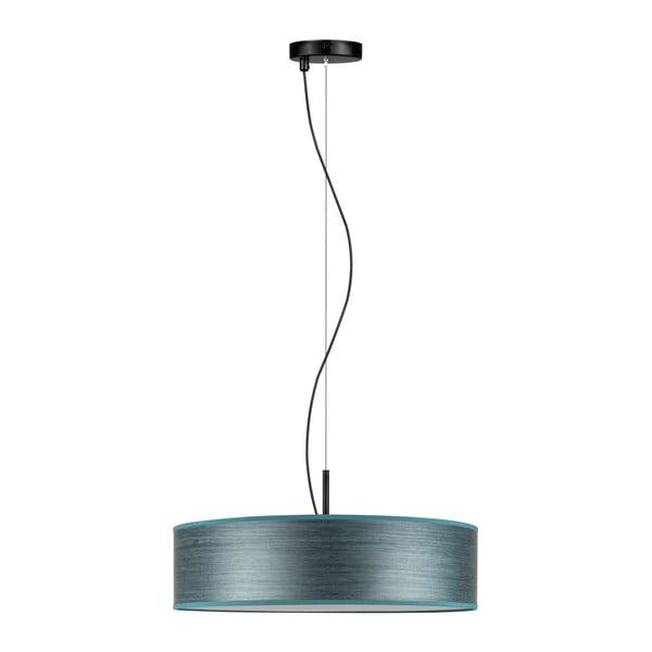 Šedomodré závěsné svítidlo se stínidlem z přírodní dýhy Bulb Attack Ocho