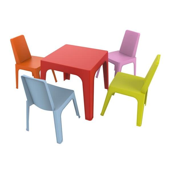 Set grădină pentru copii, 1 masă roșie și 4 scaune Resol Julieta
