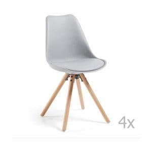 Sada 4 šedých jídelních židlí s dřevěným podnožím La Forma Lars
