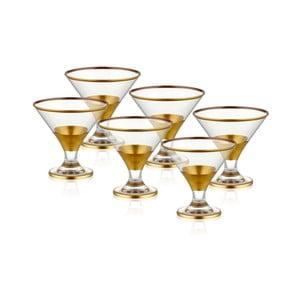 Sada 6 skleněných pohárů na servírování zmrzliny ve zlatém dekoru The Mia Glam