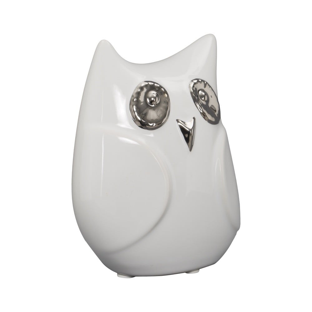 Bílá keramická dekorativní soška Mauro Ferretti Gufo Funny Owl, výška 13 cm Mauro Ferretti