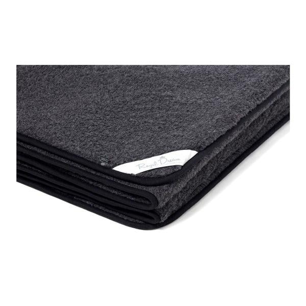 Černá deka z merino vlny Royal Dream, 90x200cm