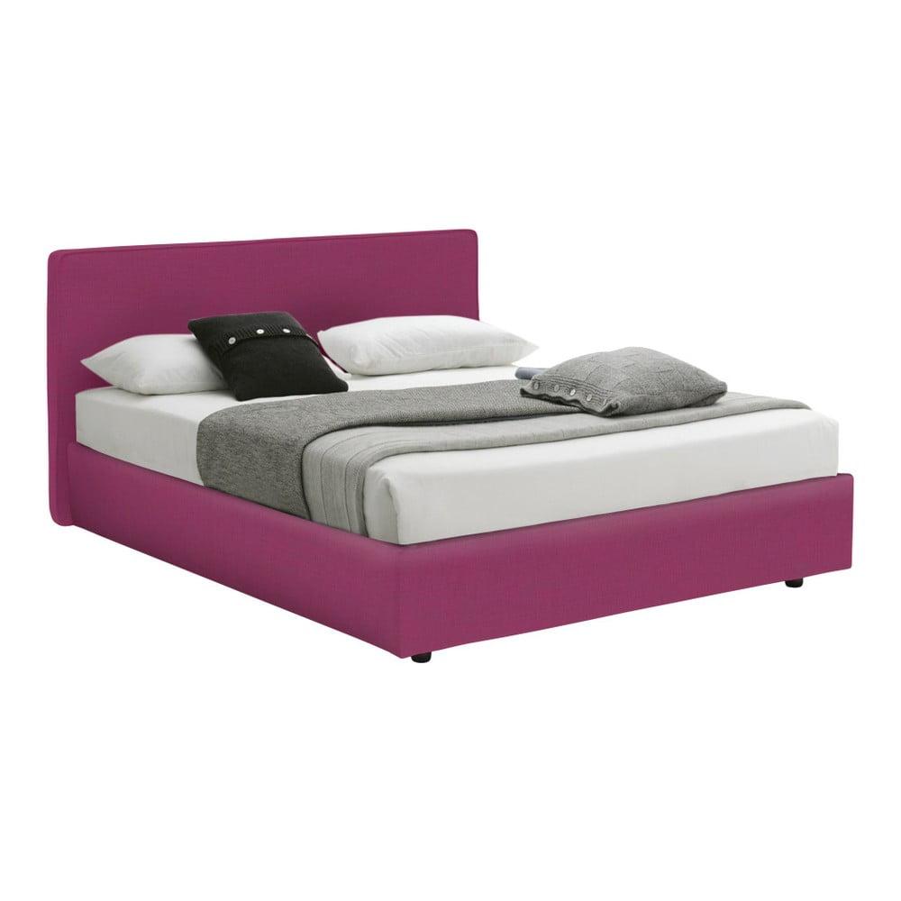 Růžová dvoulůžková postel s úložným prostorem a matrací 13Casa Ninfea, 160 x 200 cm