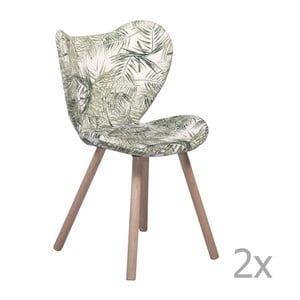 Sada 2 vzorovaných  jídelních židlí s dřevěným podnožím DAN– FORM Butterfly