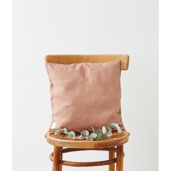 Față de pernă din in Linen Tales, 45 x 45 cm, maro teracotă