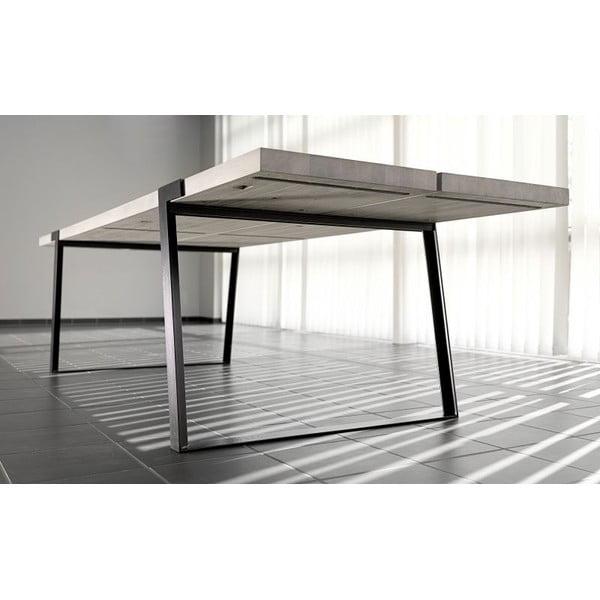 Světlý dřevěný jídelní stůl s černým podnožím Canett Gigant, 290cm