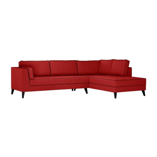 Červená pohovka s černými detaily Stella Cadente Maison Atalaia, pravý roh