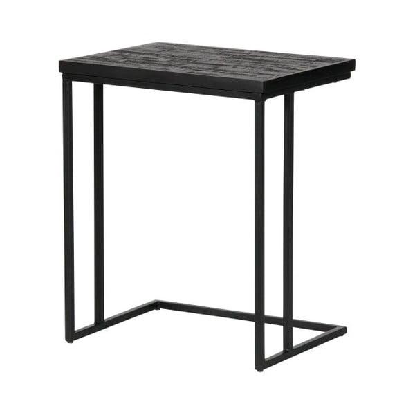 Černý odkládací stolek s deskou z recyklovaného týkového dřeva BePureHome Shape