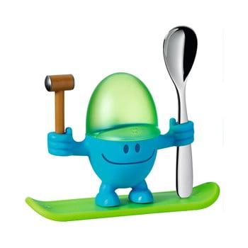 Suport pentru ou cu lingură WMF Cromargan® Mc Egg, verde - albastru