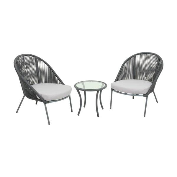 Piräus 2 db kerti szék és 1db asztal rozsdamentes acélból - ADDU