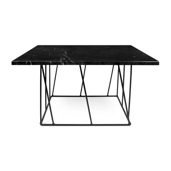 Černý mramorový konferenční stolek s černými nohami TemaHome Helix, 75 x 75 cm