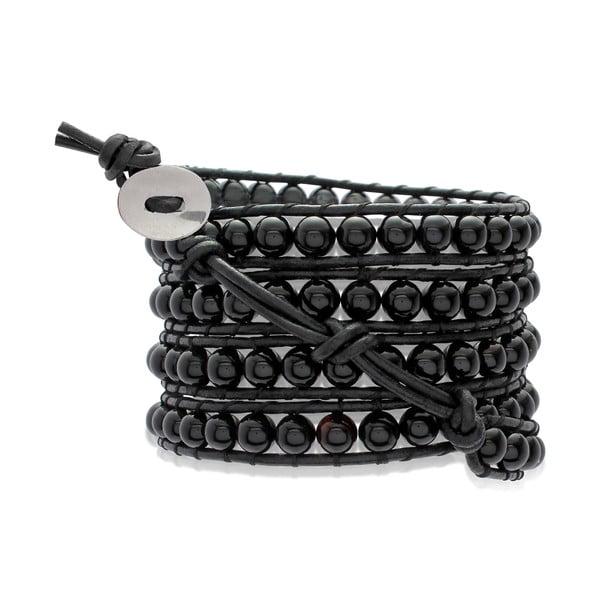 Černý pětiřadý náramek z pravé kůže s perlami Lucie & Jade