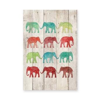 Pictură pe lemn Surdic Elephants Cue, 40 x 60 cm