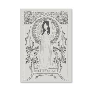 Plakát Reine Des Cygnes - Grey od Florenta Bodart, 30x42 cm