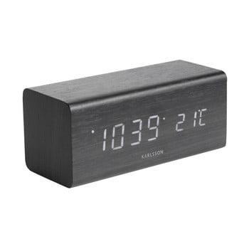 Ceas alarmă cu aspect de lemn, Karlsson Cube, 16 x 7,2 cm, negru imagine
