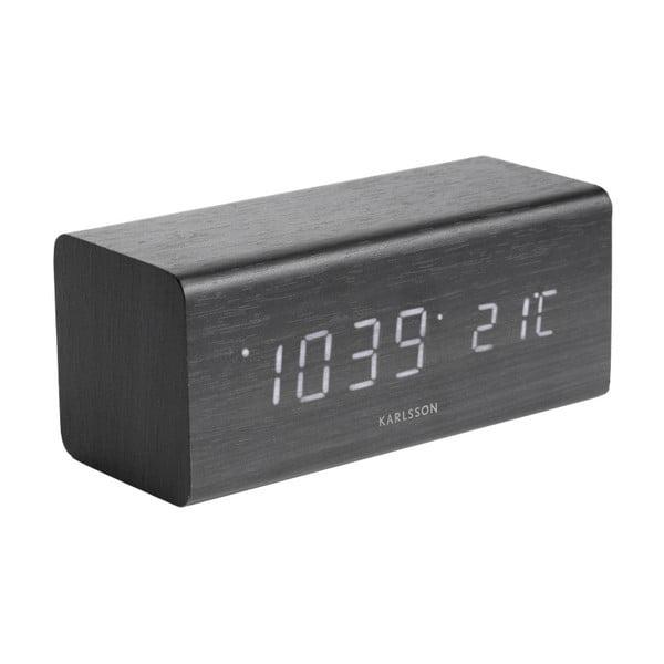 Ceas alarmă cu aspect ca de lemn, Karlsson Cube, 16 x 7,2 cm