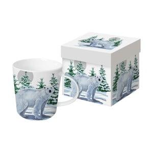 Hrnek z kostního porcelánu s vánočním motivem v dárkovém balení PPD Snow Bear, 350 ml