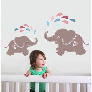 Samolepka na stěnu Elephant Shower, 70x50 cm