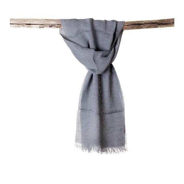 Lněný šátek Luxor 65x200 cm, modrošedý