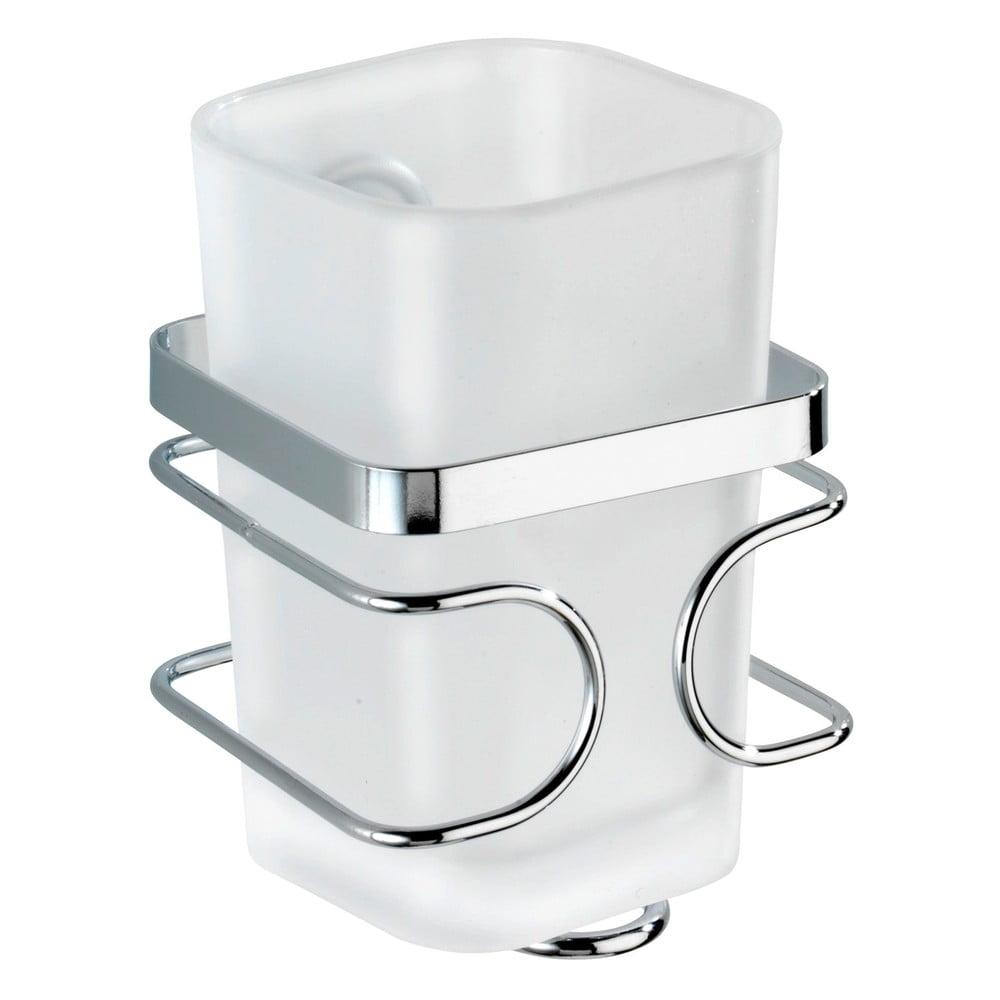 Bílý nástěnný kelímek na kartáčky s držákem z nerezové oceli Wenko Premium