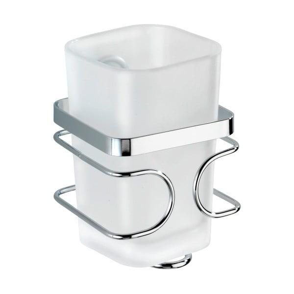 Biały ścienny kubek na szczoteczki z uchwytem ze stali nierdzewnej Wenko Premium
