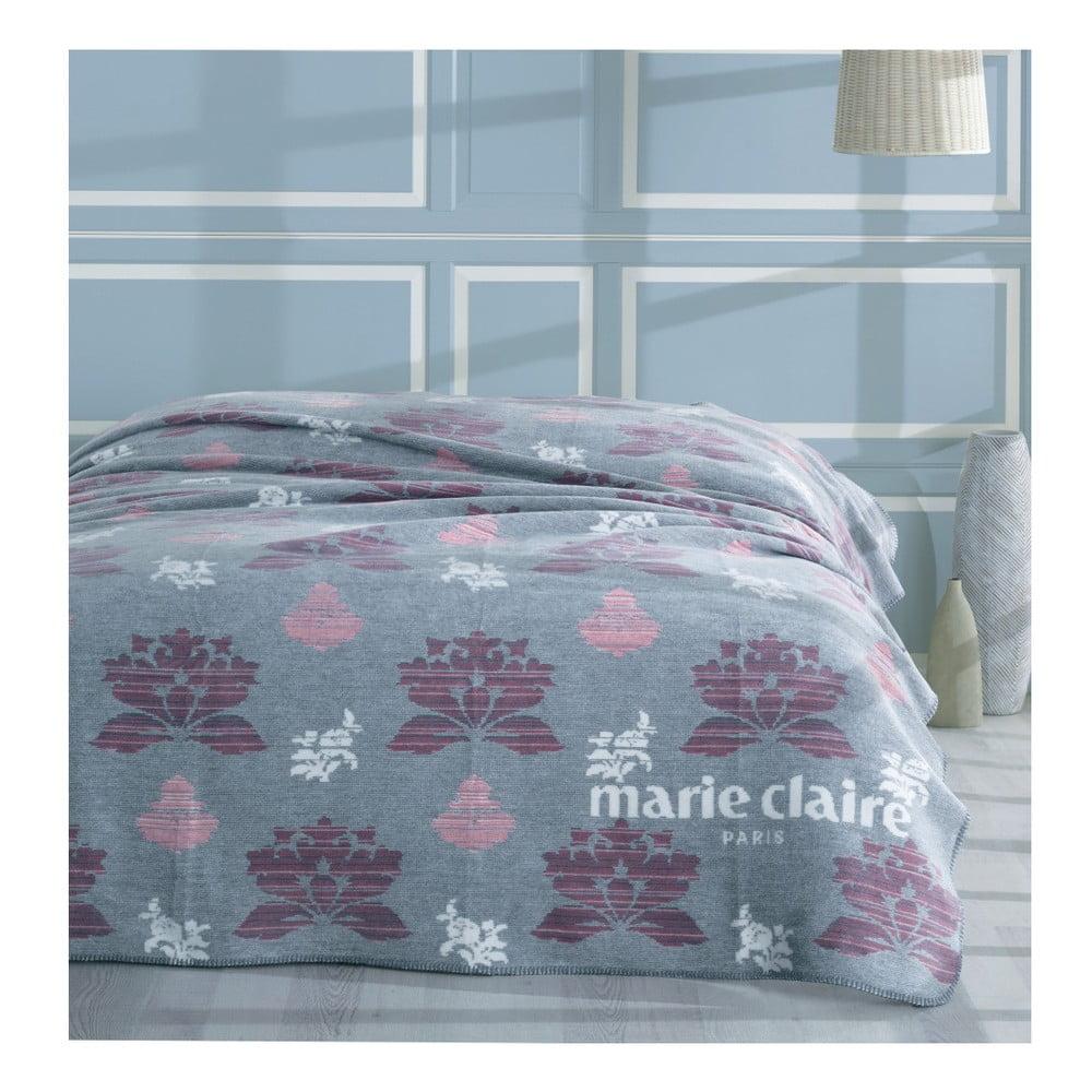 Šedá deka s barevným motivem z edice Marie Claire, 200 x 220 cm