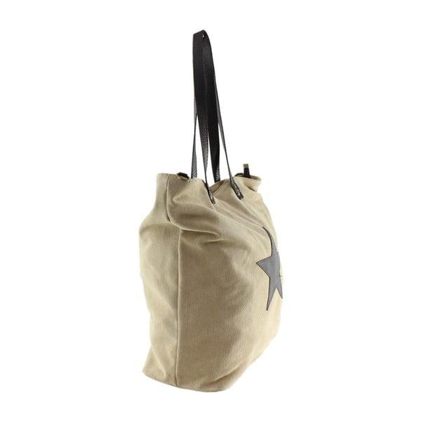 Šedobéžová  kožená kabelka Chicca Borse Asterisco