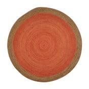 Oranžový jutový koberec vhodný do exteriéru Native, ⌀ 200 cm
