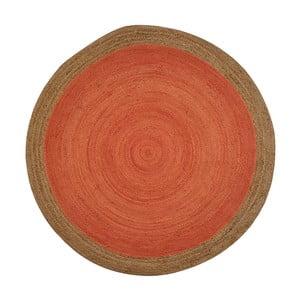 Oranžový jutový koberec vhodný do exteriéru Native, ⌀ 120 cm