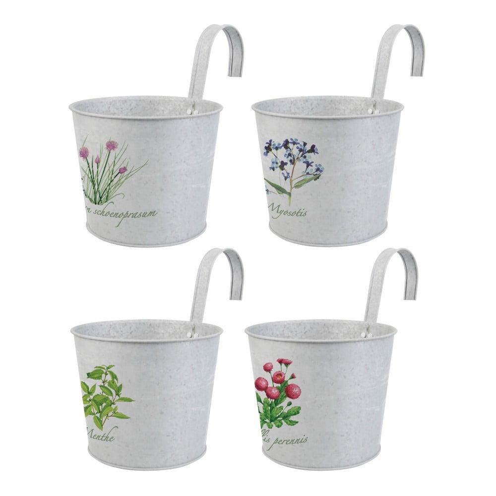 Sada 4 obalů na květináč s hákem Esschert Design Botanika
