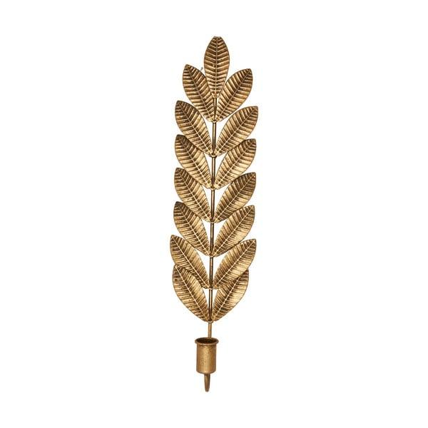 Metalowy świecznik w kolorze złota Green Gate Leaf, wys. 50 cm