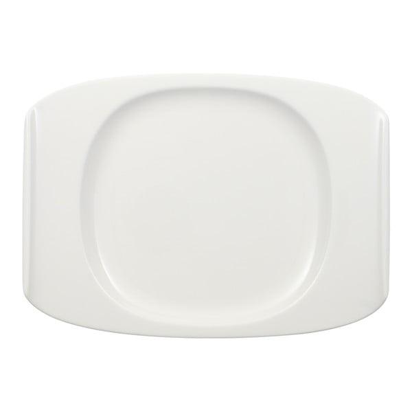 Bílý hranatý talíř z porcelánu Villeroy & Boch Urban Nature, 27 x 19,5 cm