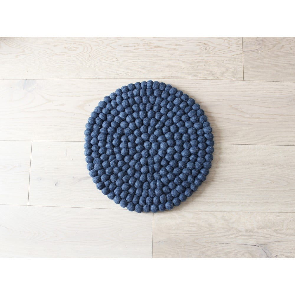 Tmavě modrý kuličkový vlněný dětský podsedák Wooldot Ball Chair Pad, ⌀ 30 cm