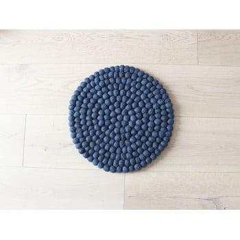 Pernă cu bile din lână pentru copii Wooldot Ball Chair Pad, ⌀ 30 cm, albastru închis