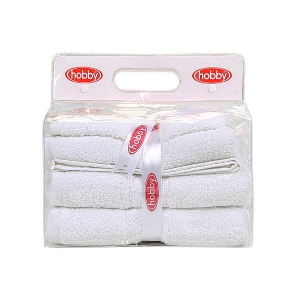 Sada 3 bílých ručníků Rainbow