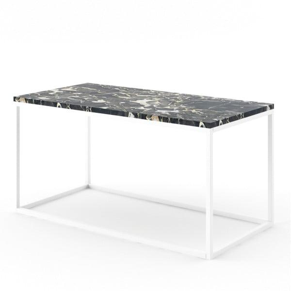 Velký černý konferenční stůl z mramoru s bílým podnožím Absynth Noi Italy