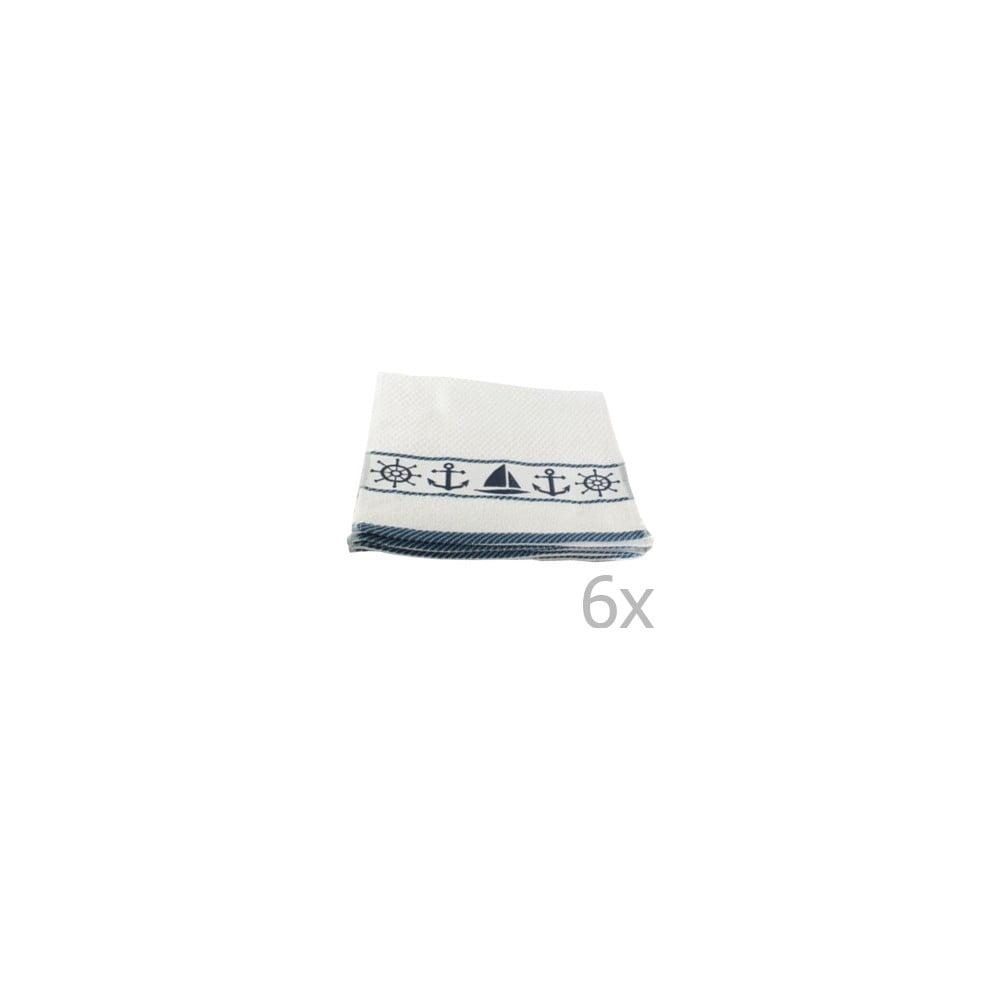 Fotografie Sada 6 bílo-modrých ručníků Marina, 30x50cm