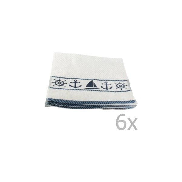 Sada 6 bielo-modrých uterákov Marina, 30 × 50 cm
