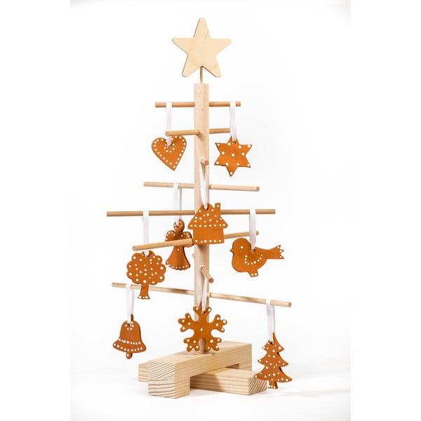 Set brad din lemn pentru Crăciun și 14 ornamente Nature Home Xmas Set