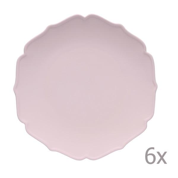 Sada 6 jídelních talířů Glamour Rosa