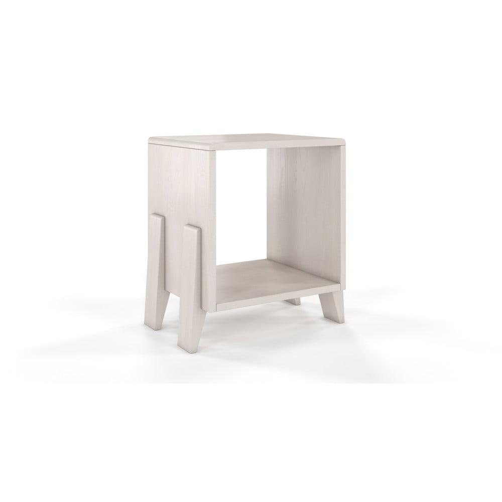 Bílý noční stolek z borovicového dřeva Skandica Visby Gdansk