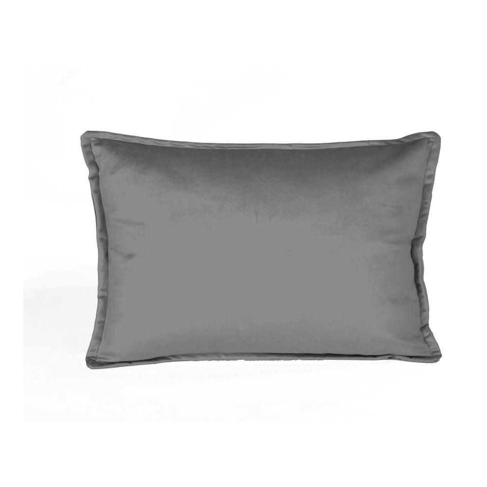 Šedý dekorativní polštář Velvet Atelier Sigma, 50 x 35 cm