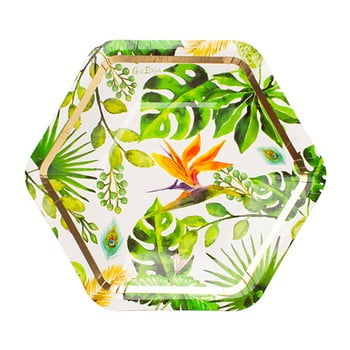 Set 8 farfurii din hârtie GiviItalia Golden Jungle, ⌀ 18 cm