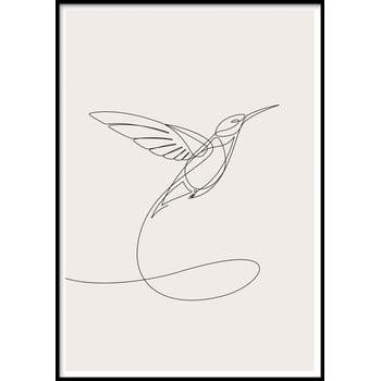 Poster cu ramă pentru perete SKETCHLINE/HUMMINGBIRD, 70 x 100 cm imagine