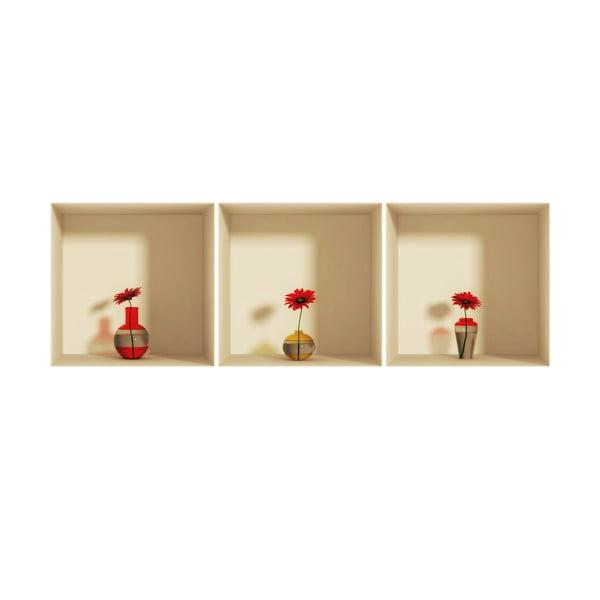 Sada 3 samolepek s 3D efektem Ambiance Gerberas