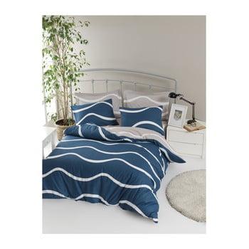 Lenjerie de pat cu cearșaf din bumbac ranforce, pentru pat dublu Mijolnir Novia Blue, 160 x 220 cm de la Mijolnir
