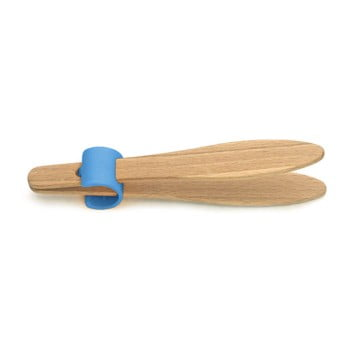Cleşte din lemn de fag pentru pâine, cu detalii albastre Jean Dubost Handy, lungime 15 cm de la Jean Dubost