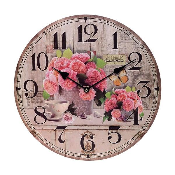 Nástěnné hodiny Pink Flowers