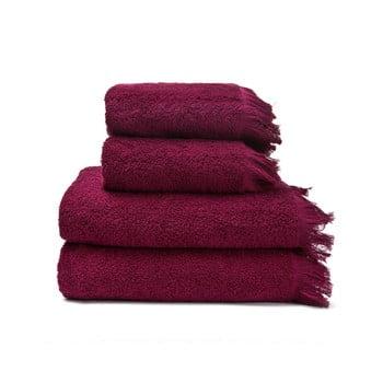 Set 2 prosoape și 2 prosoape de baie din 100% bumbac Bonami, 50 x 90 + 70 x 140 cm, roșu de la Bonami
